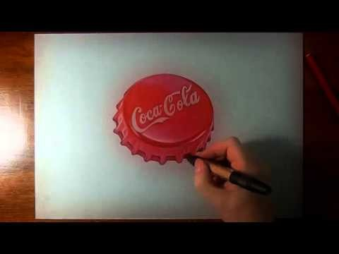 How to draw a Coca Cola red bottle cap 3D