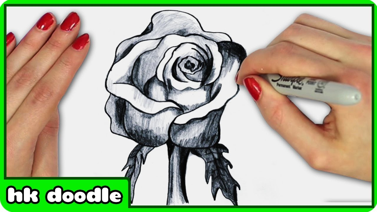 How to draw a realistic rose in 3d step by step drawing tutorial by hooplkidzdoodle