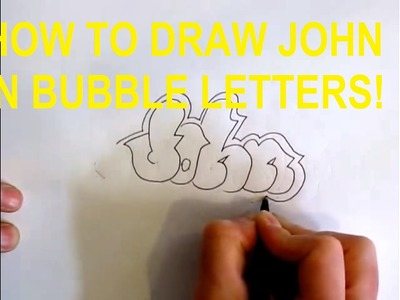 How to draw John in graffiti bubble letters
