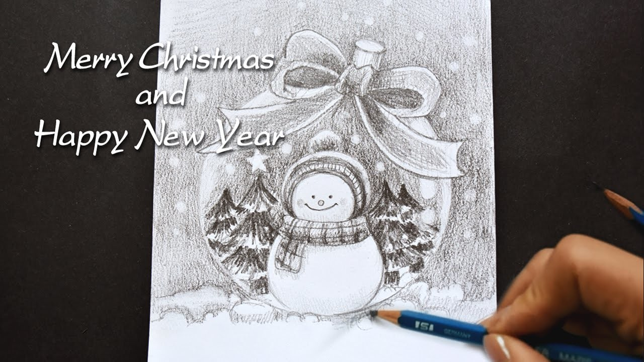 How to draw New Year's picture with pencil
