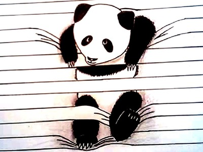 HOW TO DRAW PANDA 3D Drawing Lined Paper Art Trick