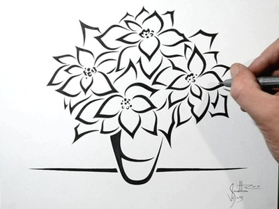How to Draw Poinsettia Flowers - Tribal Tattoo Design Style