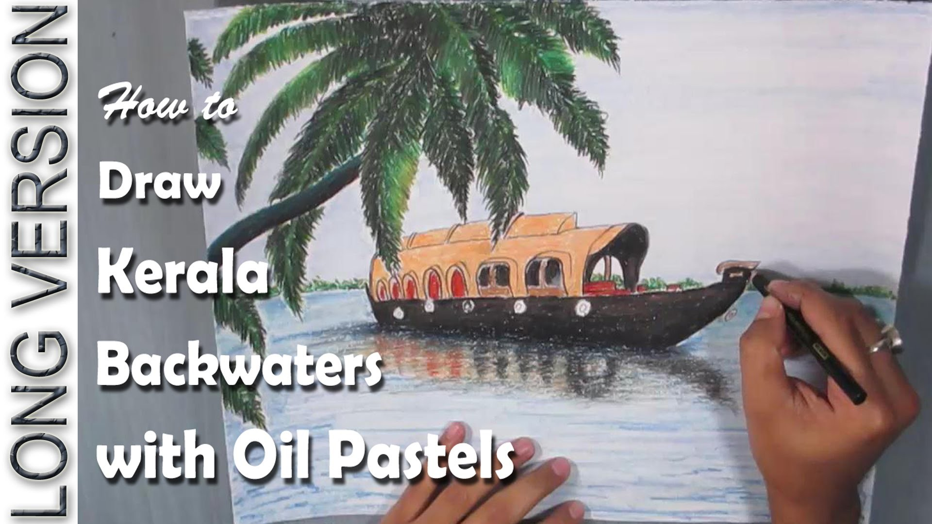 How to Draw the backwaters of Kerala with Oil Pastel [LONG VERSION]