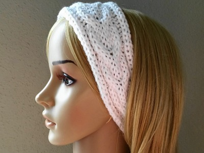 How To Knit A Horseshoe Cable Rib Headband, Lilu's Knitting Corner Video # 36