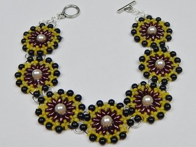How to make a beaded pearl bracelet with twin beads beading jewelry DIY (tutorial + free pattern)