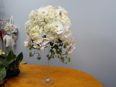 How to Make a Tall Arrangement in Martini Vase with Orchids And  Hydrangeas