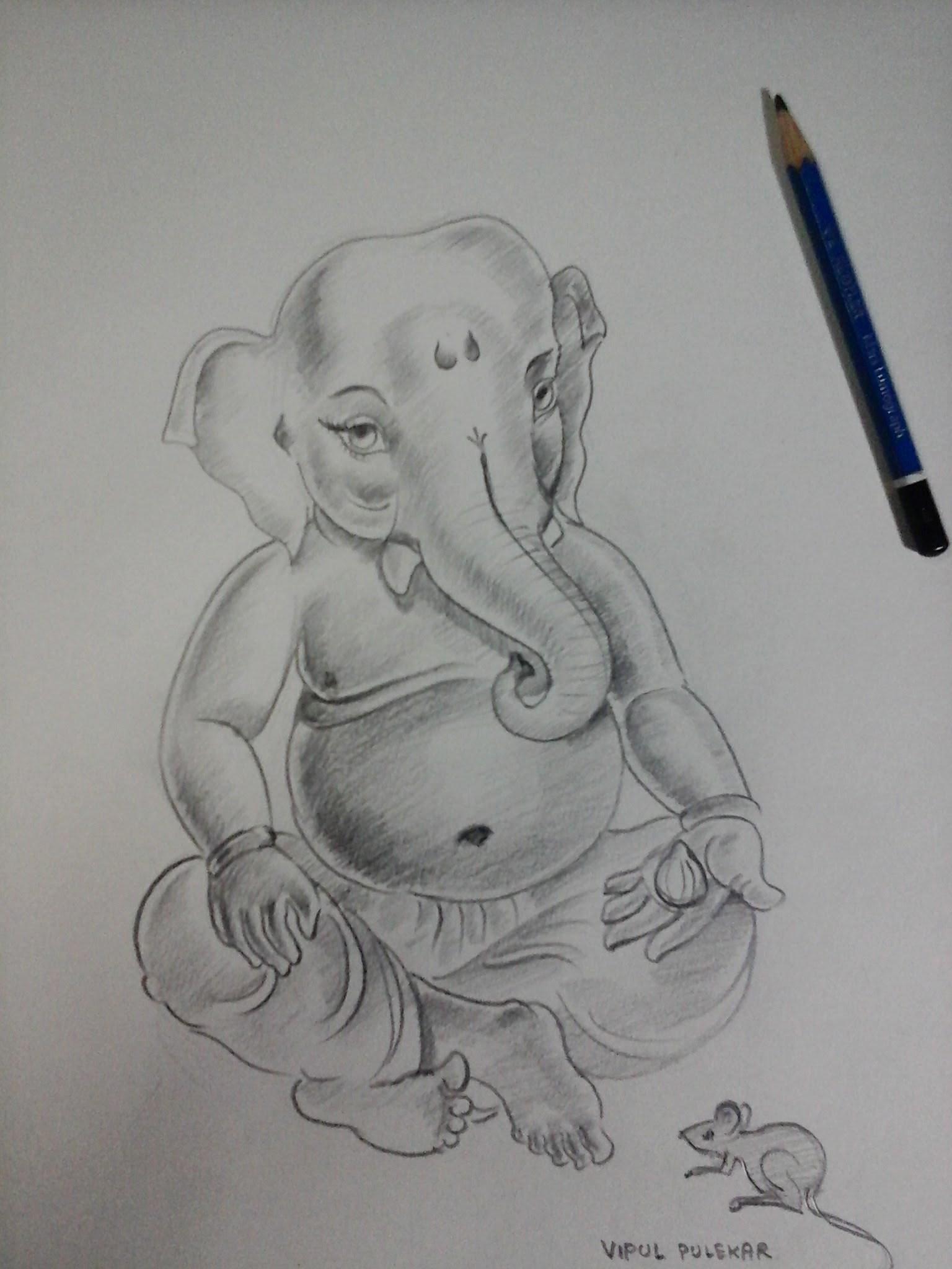 How to make ganesha bal ganesha sketch with pencil shading part 4