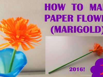 HOW TO MAKE PAPER FLOWER MARIGOLD . 2016 ORIGAMI VIDEO