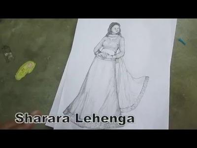 How to Make Sharara Lehenga.Ghagra part 1 hindi