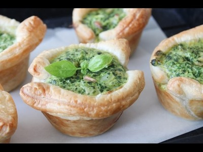 How To Make Spinach And Cream Cheese Puff Pastry Cups - By One Kitchen Episode 373