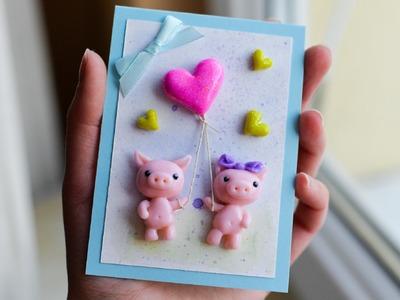 How to Make - Valentine's Day Card Glitter Heart - Step by Step | Kartka Na Walentynki