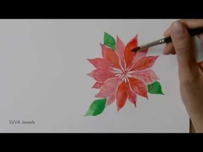 How to Paint Poinsettia or Christmas Star Flower in Watercolor - Great Christmas Cards Idea