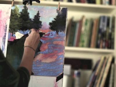 How to Paint River and Snow in Pastel - Time-lapse by Bethany Fields