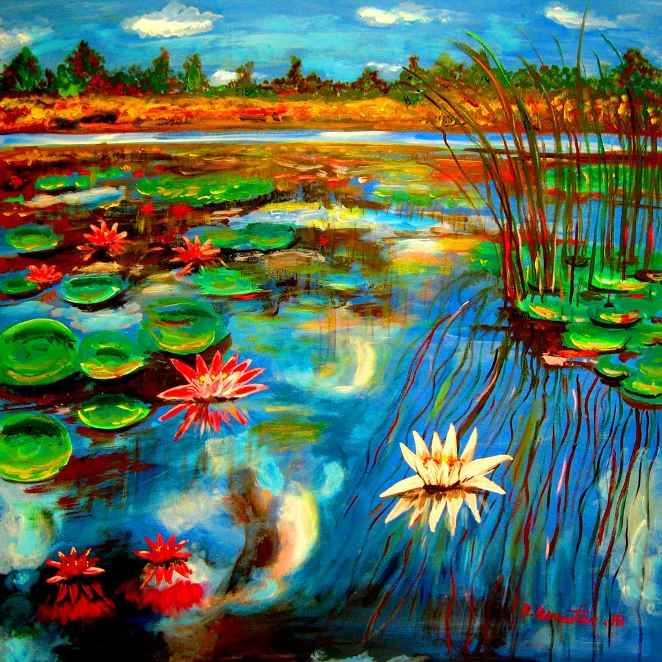 How to paint Water Lilies Lake Contemporary New Impressionist Acrylic By Rami Benatar