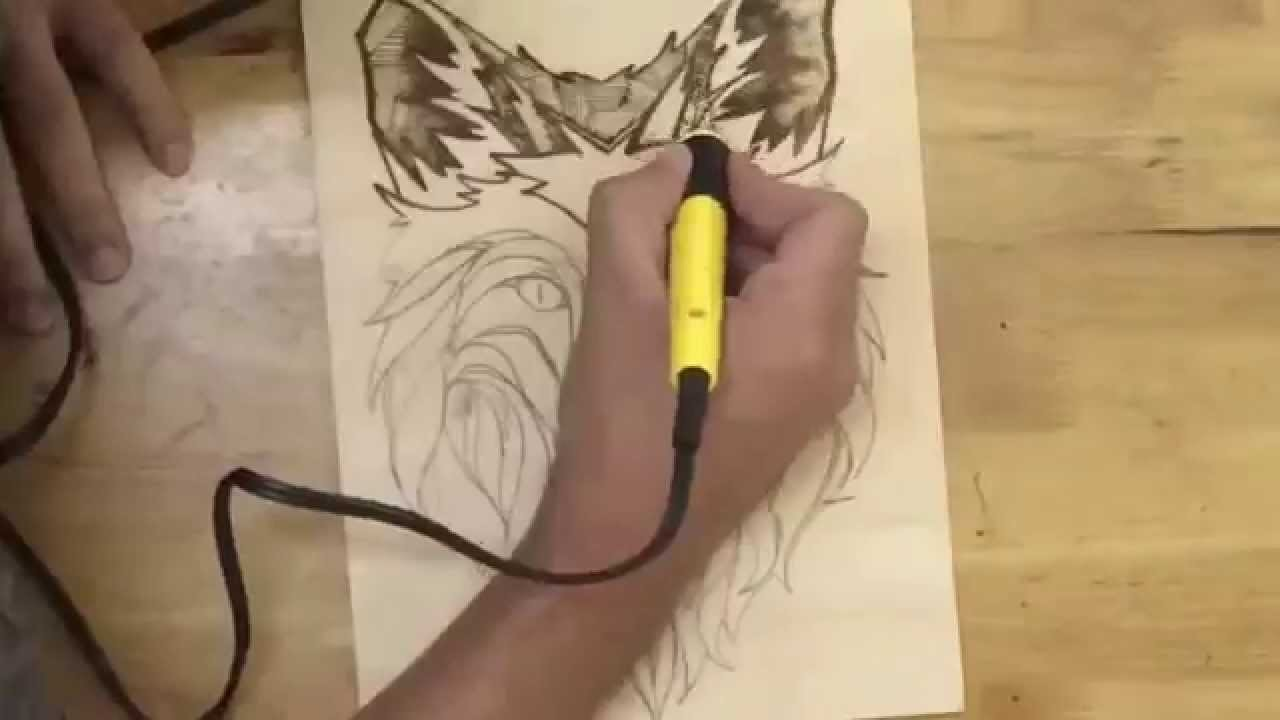 How to use Pyrography. wood burning to create a wolf face