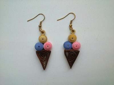 PAPER EARRINGS - How to make  Paper Quilling  Ice cream Earrings -Making Tutorial