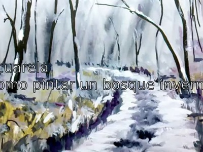 Watercolor, how to paint a winter forest landscape with #watercolor, ink and #gouache step by step