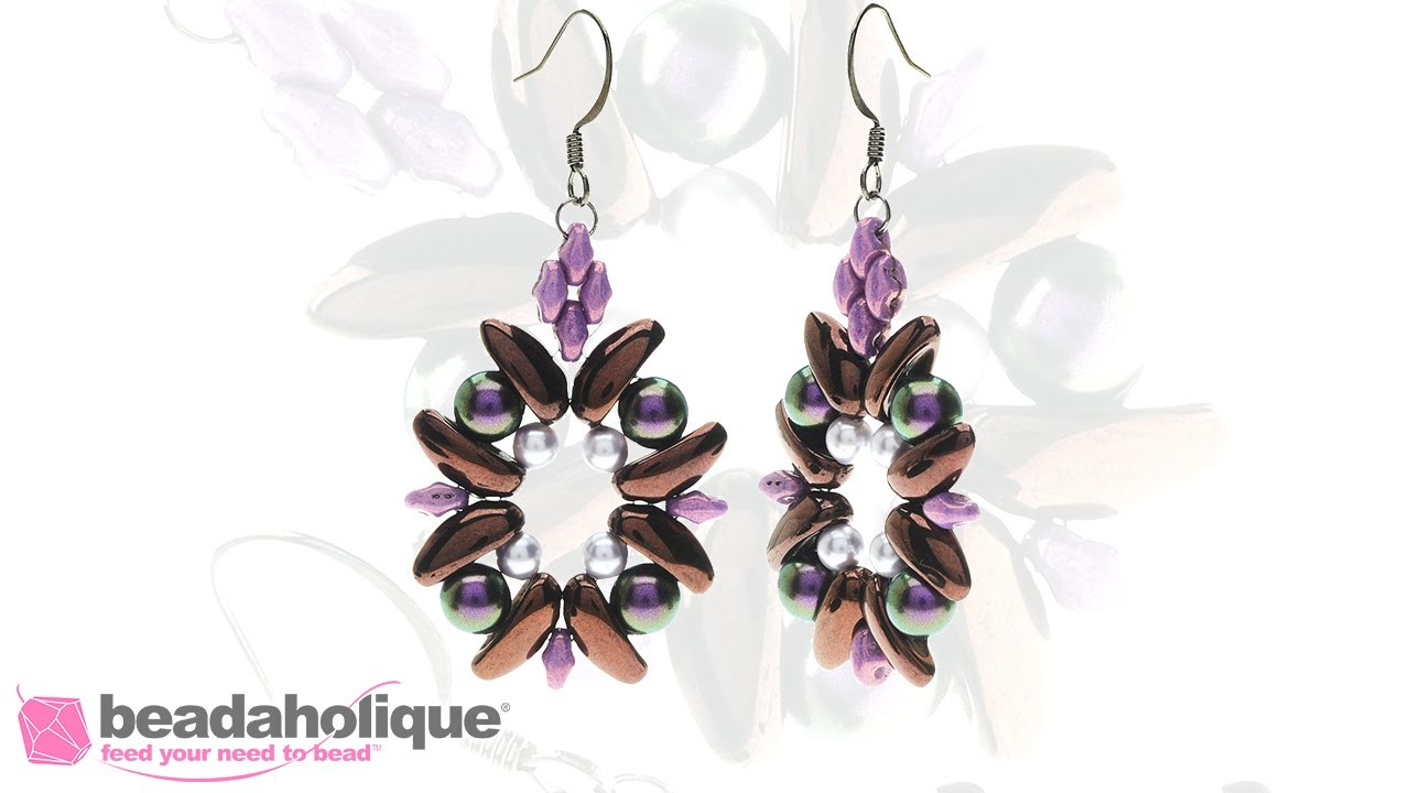 How to Bead Weave the Dahlia Earrings with 2-Hole Chilli Beads
