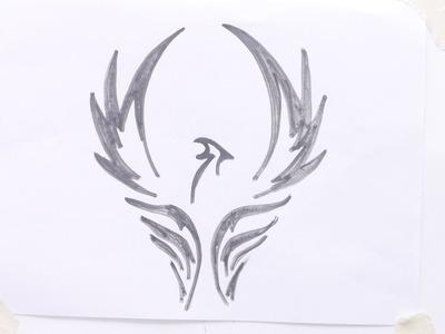 How to draw bird tribal tattoo