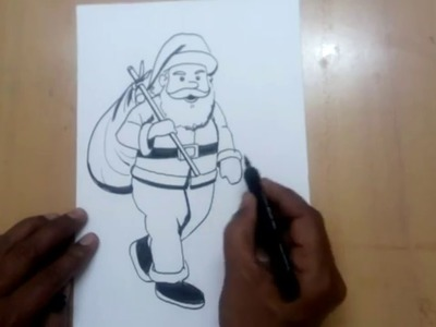 How to draw santa claus sketch easy steps
