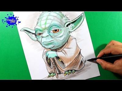 HOW TO DRAW STAR WARS YODA. Como dibujar Star Wars Yoda.