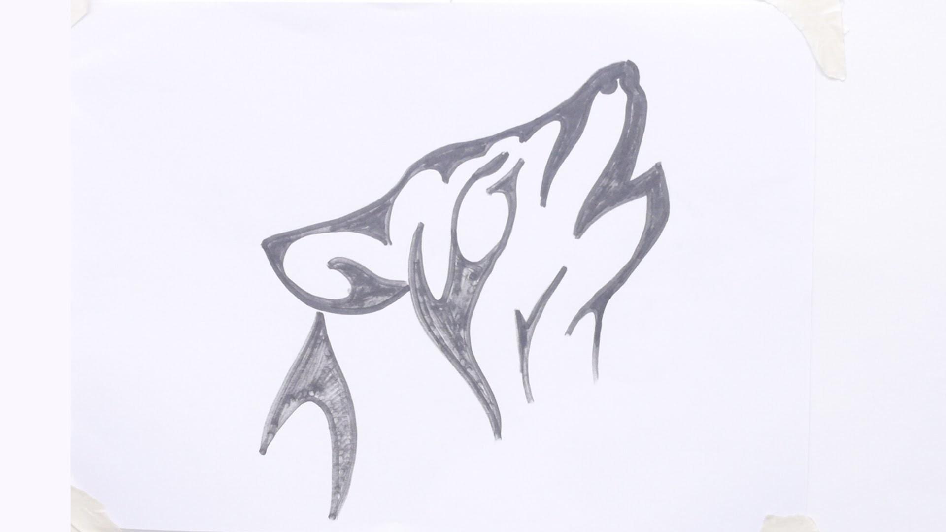 How to draw wolf head tribal tattoo