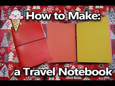How to Make an Easy Travel Sketchbook.Notebook binder holder.folder.carrier.cover - Midori inspired
