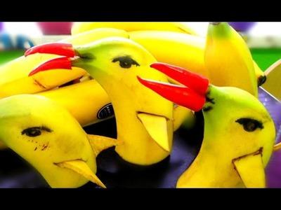 How To Make Banana Dolphin Garnishes | Banana Art | Fruit Carving Banana Decoration | Edible Art