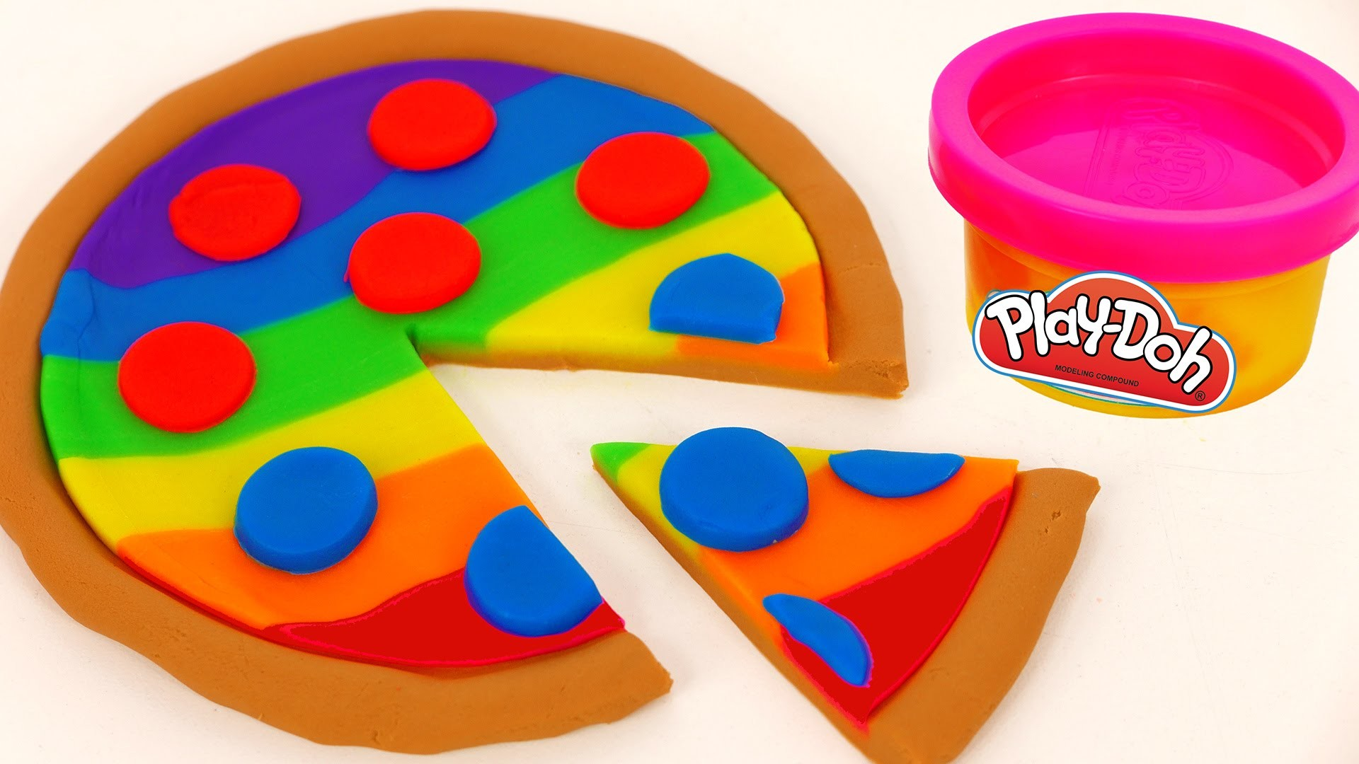How to Make Play Doh Rainbow Pizza Play Dough FOOD Video For Kids YUMMY