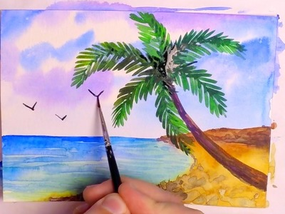 How to Paint a Tropical Beach in Watercolor - Speed Painting Tutorial - Seascape With Palm Tree