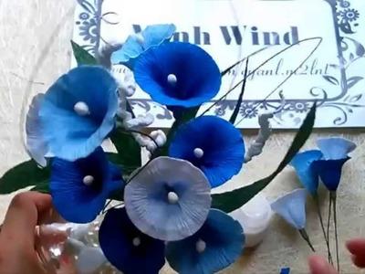 Morning glory paper flower - Làm hoa rau muống đơn giản từ giấy nhún