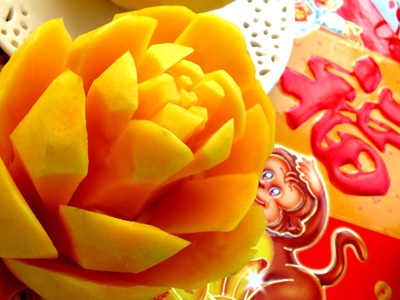 Step By Step: How It's Made Mango Rose Flower | Fruit Carving Garnish | Mango Art | Party Garnishing
