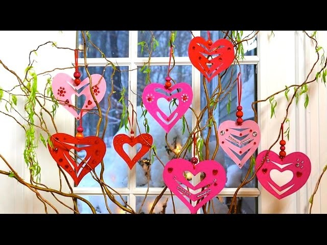 Super Easy Valentine's Day Paper Heart Decorations DIY