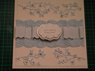 76. Cardmaking Tutorial - Blue & Ivory Anna Griffin Paper Folding Blanket Border Card