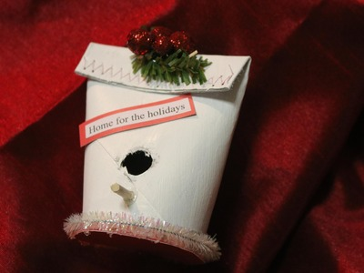 Birdhouse Ornament  using a toilet paper roll