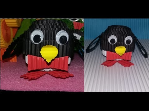 DIY pinguin from corrugated paper. kokoru paper