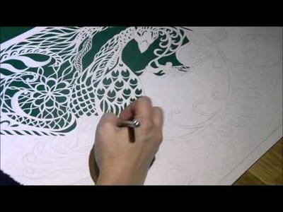 Dream Bird - Cutting a paper cut piece