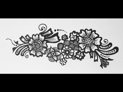 Henna Tattoo - Arabic Henna Strip Design - Simple Mehendi on Paper