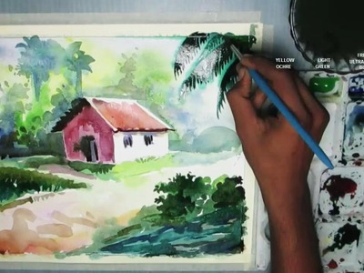 How to Draw a House Landscape in Watercolor   step by step
