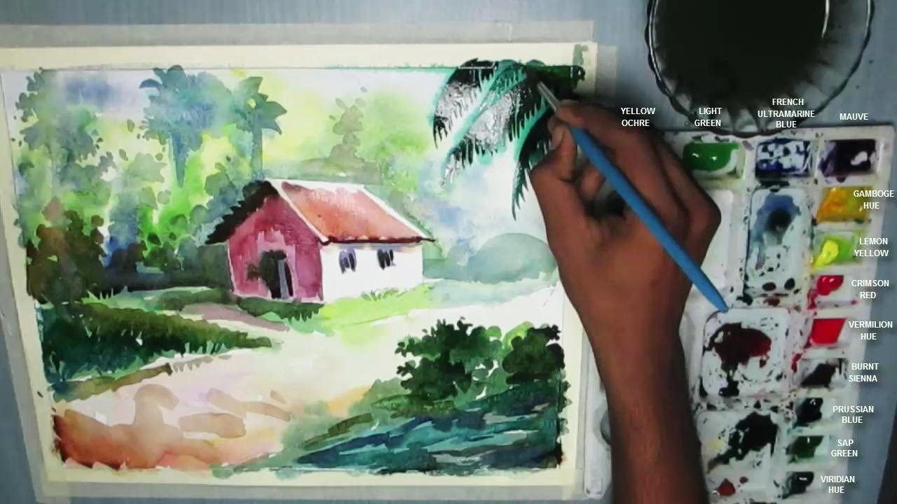 How to Draw a House Landscape in Watercolor | step by step