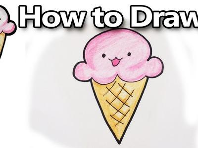 How to Draw a Kawaii Icecream - step by step, easy! | DoodleDrawCute