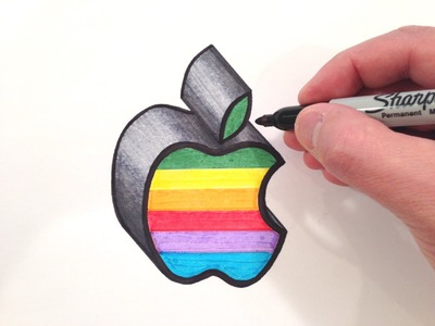 How to Draw the Apple Logo in Color - 3D