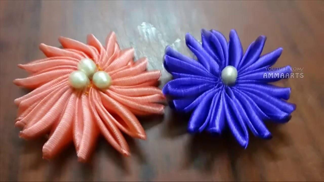 How To Make Satin Ribbon Flower(4) -Ribbon Flower -Ribbon Arts - Flower By AmmaArts