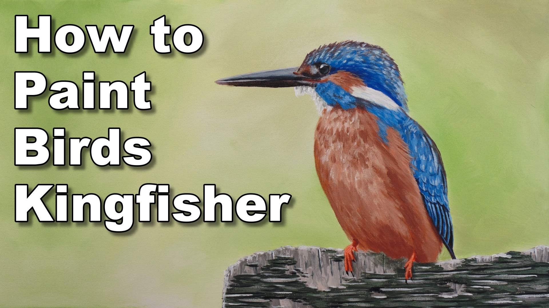 How to paint birds in acrylic kingfisher time lapse painting lesson