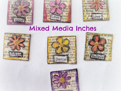 #lovespringart. how to make flower mixed media inchies.Mixed Media Morsels