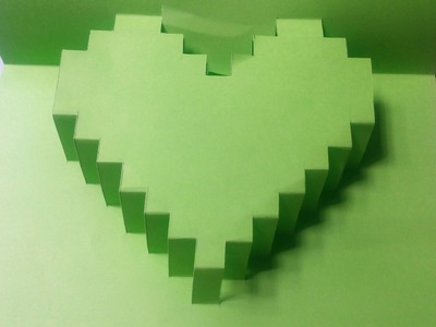 Make Heart Pixel 3D With Paper For Gift Card