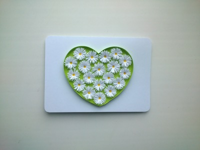 Paper  Valentine's Day cards: make paper Quilling Valentine's Day card with heart.