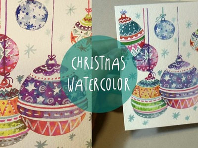 WATERCOLOR for CHRISTMAS: How to PAINT Xmas ornaments * SPEED PAINTING by ART Tv (ENGLISH)