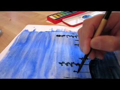 Watercolor painting on normal paper ASMR