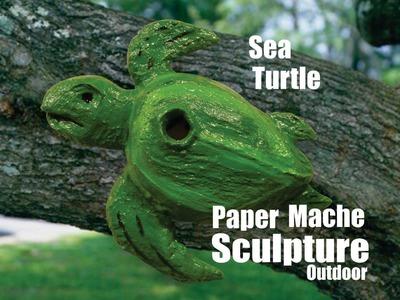 DIY Sea Turtle Paper Mache Outdoor Weather Resistant Bird House backyard Art
